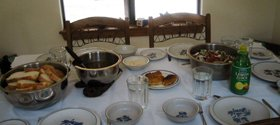 Table set with greek food